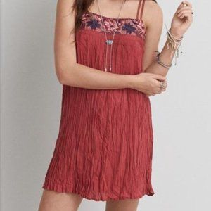 AMERICAN EAGLE Rust Red Embroidered Floral Dress